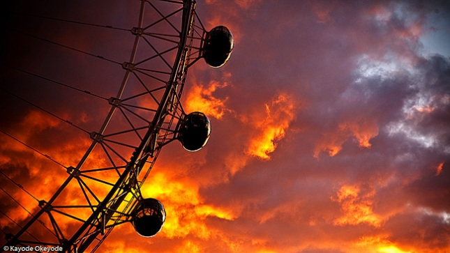 London Eye and Fiery Sky