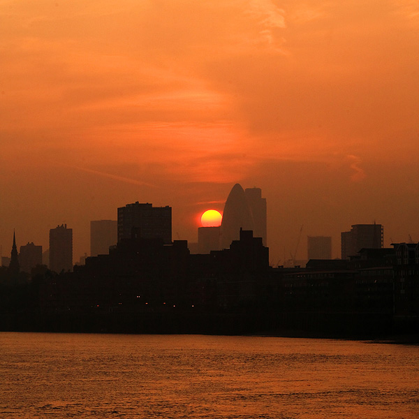 Day 243:  Sun setting over the City of London