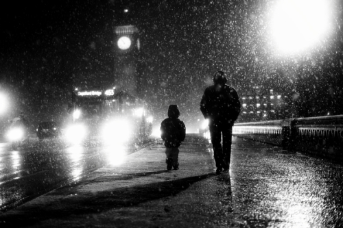 ondon When it Snows:  Father and Son