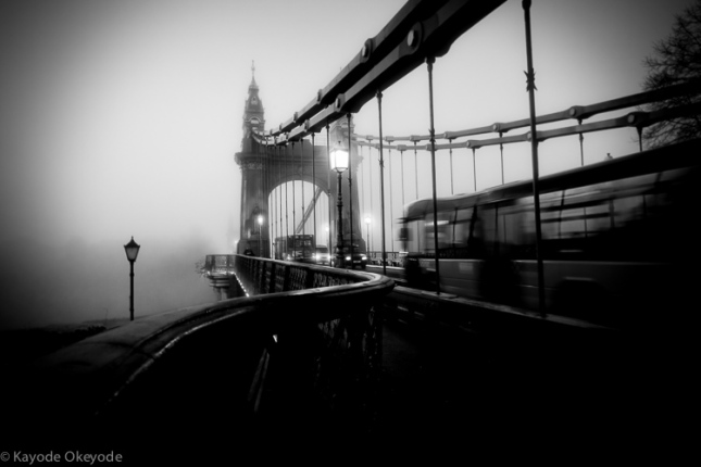 London Hammersmith Bridge and early morning fog