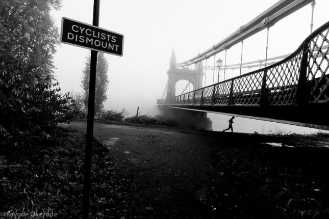Hammersmith Bridge and Jogger